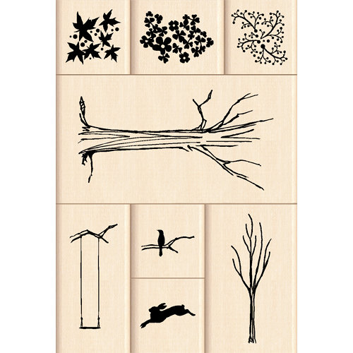 Inkadinkado - Layering Wood Scenes Collection - Wood Mounted Stamps - My Tree Set