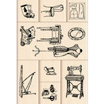 Inkadinkado - Layering Wood Scenes Collection - Wood Mounted Stamps - Sewing Room