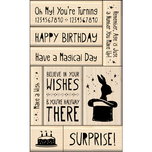 Inkadinkado - Layering Wood Card Making Collection - Wood Mounted Stamps - Birthday