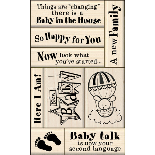 Inkadinkado - Layering Wood Card Making Collection - Wood Mounted Stamps - Baby