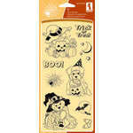 Inkadinkado - Halloween Collection - Clear Acrylic Stamp Set - Cat and Friends