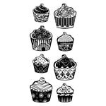 Inkadinkado - Clear Acrylic Stamps - Patterned Cupcakes