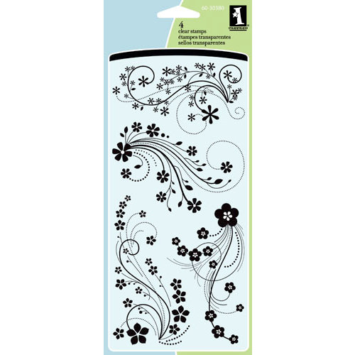Inkadinkado - Clear Acrylic Stamp Set - Mod Flower Flourish