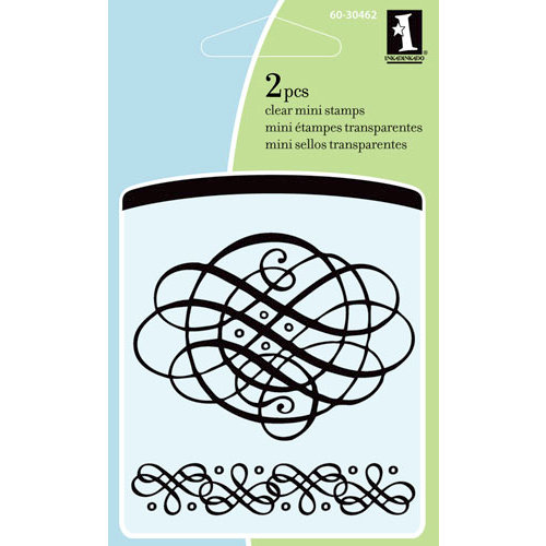Inkadinkado - Summer Collection - Clear Acrylic Stamps - Mini Elegant Scrollwork