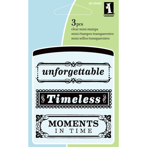 Inkadinkado - Summer Collection - Clear Acrylic Stamps - Mini Timeless Phrases