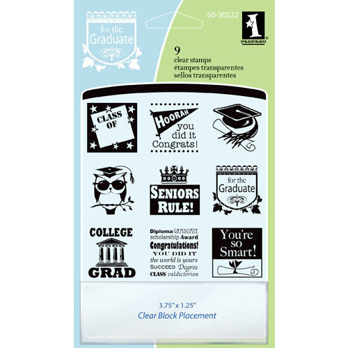 Inkadinkado - Clear Acrylic Stamp Set with Acrylic Block - Graduation