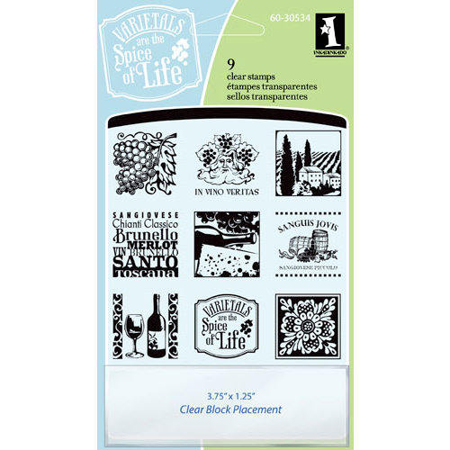 Inkadinkado - Clear Acrylic Stamp Set with Acrylic Block - Tuscany