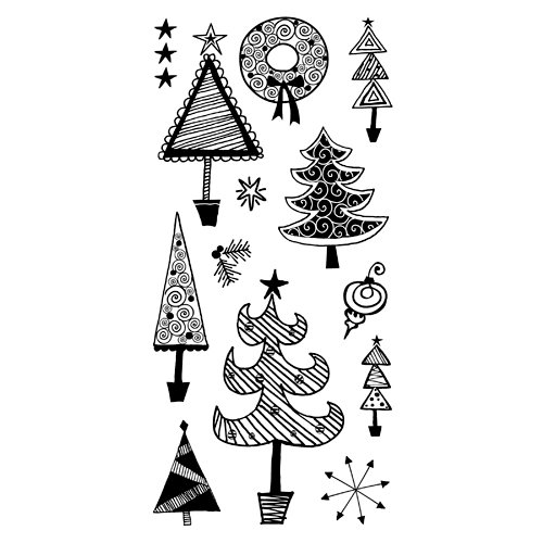 Inkadinkado - Christmas - Clear Acrylic Stamps - Festive Holiday Doodles