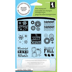 Inkadinkado - Clear Acrylic Stamp Set with Acrylic Block - Four Seasons
