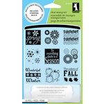Inkadinkado - Clear Acrylic Stamp Set with Acrylic Block - Four Seasons