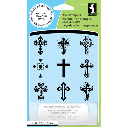 Inkadinkado - Clear Acrylic Stamp Set with Acrylic Block - Crosses