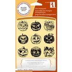 Inkadinkado - Halloween Collection - Clear Acrylic Stamp Set with Acrylic Block - Pumpkin Faces