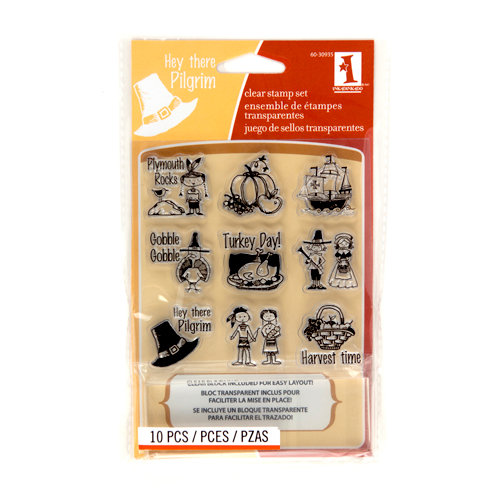 Inkadinkado - Fall Collection - Clear Acrylic Stamp Set with Acrylic Block - Plymouth Rock