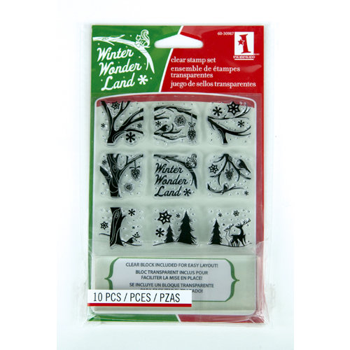 Inkadinkado - Holiday Collection - Christmas - Clear Acrylic Stamp Set with Acrylic Block - Winter Wonderland