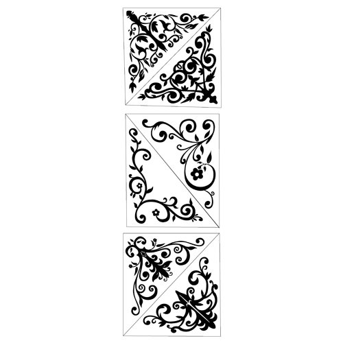 Inkadinkado - Inkadinkaclings Collection - Rubber Stamps - Decorative Corners