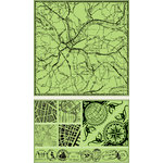 Inkadinkado - Background Clings Collection - Rubber Stamps - Large - Mapped Out