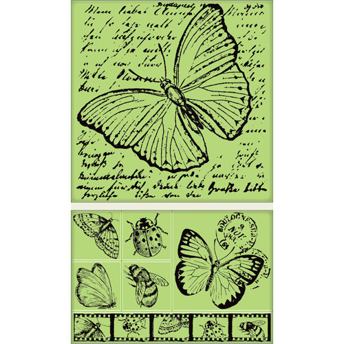 Inkadinkado - Background Clings Collection - Rubber Stamps - Large - Insect Amalgam