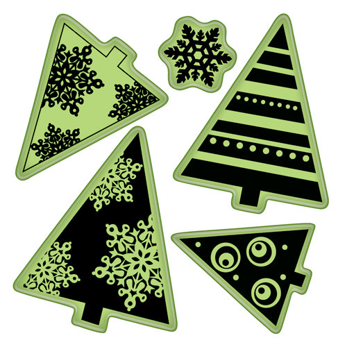Inkadinkado - Inkadinkaclings - Rubber Stamps - Holiday Trees