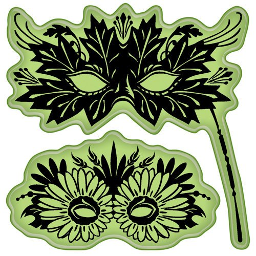 Inkadinkado - Fall Collection - Inkadinkaclings - Rubber Stamps - Leaves Venetian Masks