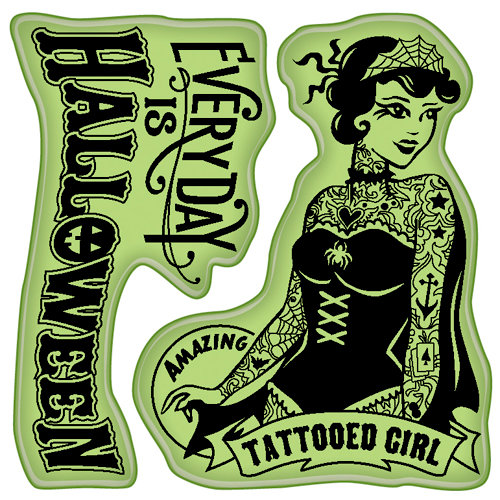 Inkadinkado - Halloween Collection - Inkadinkaclings - Rubber Stamps - Tattooed Girl