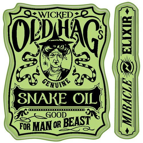 Inkadinkado - Halloween Collection - Inkadinkaclings - Rubber Stamps - Snake Oil Label