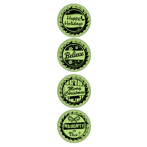 Inkadinkado - Holiday Collection - Christmas - Inkadinkaclings - Rubber Stamps - Holiday Bottle Caps