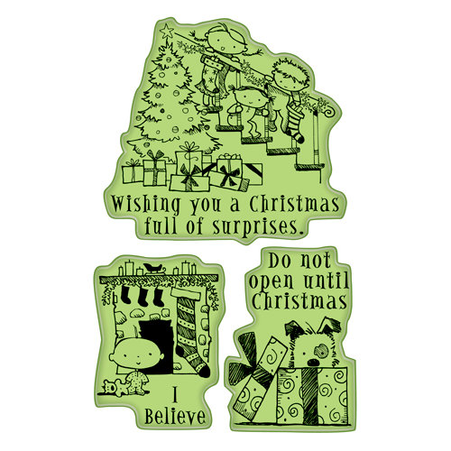 Inkadinkado - Holiday Collection - Christmas - Inkadinkaclings - Rubber Stamps - Christmas Surprise