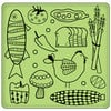 Inkadinkado - Spring Collection - Inkadinkaclings - Rubber Stamps - Kitchen Food Pattern
