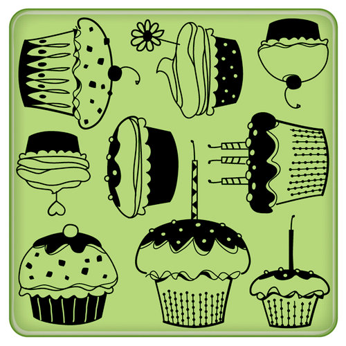 Inkadinkado - Spring Collection - Inkadinkaclings - Rubber Stamps - Party Pattern