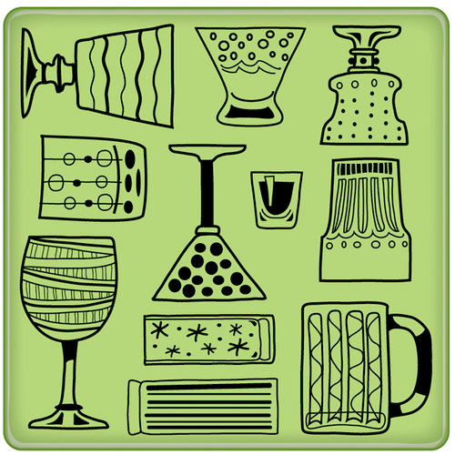 Inkadinkado - Spring Collection - Inkadinkaclings - Rubber Stamps - Cocktail Party Glasses