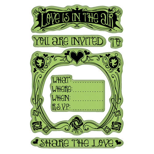 Inkadinkado - Valentine's Day Collection - Inkadinkaclings - Rubber Stamps - Valentine Party Invite