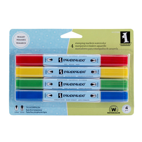 Inkadinkado - Stamping Marker Set - Watercolor - Primary