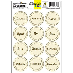 Imagination Project - Project Essentials - Totally Dated - Coasters - Mixed Dates - Ivory, CLEARANCE