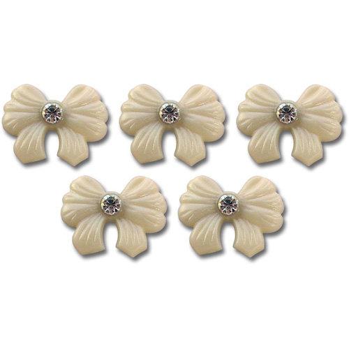 Jenni Bowlin Studio - Self Adhesive Rhinestone Bow Embellishments - Cream