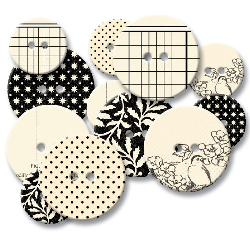 Jenni Bowlin Studio - Chipboard Buttons - Black Line