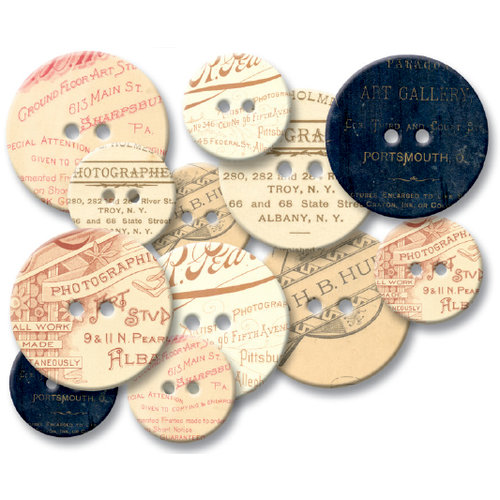 Jenni Bowlin Studio - Chipboard Buttons - Photographers Mark , CLEARANCE