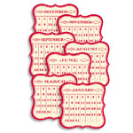 Jenni Bowlin Studio - 12 General Die Cut Calendar Cards - 3 x 3 - Red
