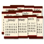 Jenni Bowlin Studio - 12 General Calendar Cards - 2.5 x 4 - Brown and Red, CLEARANCE