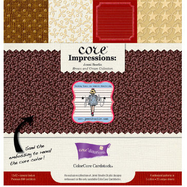 Jenni Bowlin Studio - Core'dinations Core Impressions - 12 x 12 Embossed Color Core Cardstock Pack - Brown and Cream