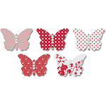 Jenni Bowlin Studio - Vellum Embellished Butterflies with Jewels - Red, CLEARANCE