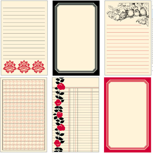 Jenni Bowlin Studio - Vintage Collection - Line Extension Journaling Cards - Red and Black, CLEARANCE