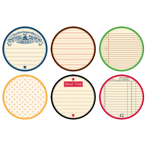 Jenni Bowlin Studio - Mini 4 x 4 Die Cut Circle Label Paper Set