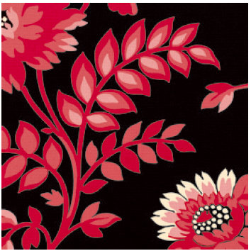 Jenni Bowlin Studio - Red and Black II Collection - 12 x 12 Paper - Dramatic Floral