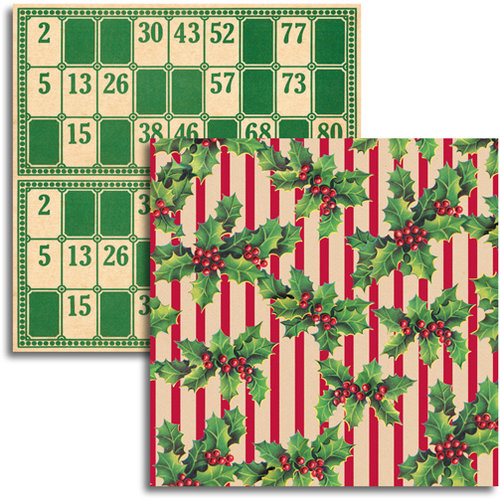 Jenni Bowlin - Christmas 2011 Collection - 12 x 12 Double Sided Paper - Holly Stripe