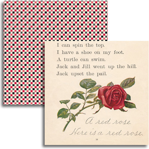 Jenni Bowlin Studio - Red and Black IV Collection - 12 x 12 Double Sided Paper - A Red Rose