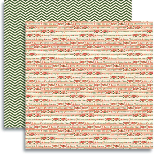 Jenni Bowlin Studio - Christmas 2012 Collection - 12 x 12 Double Sided Paper - Christmas Ribbon