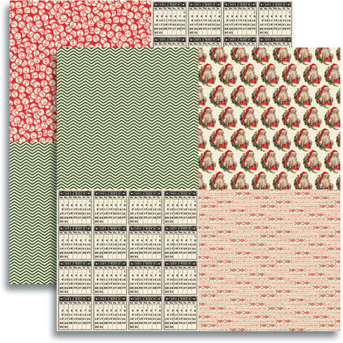 Jenni Bowlin Studio - Christmas 2012 Collection - 12 x 12 Double Sided Paper - 6 Inch Quad