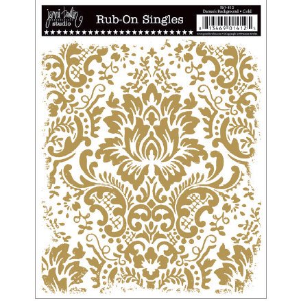 Jenni Bowlin Studio - Rub Ons Single - Damask Background - Metallic Gold