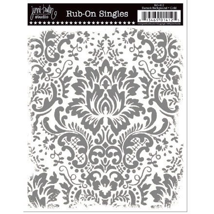 Jenni Bowlin Studio - Rub Ons Single - Damask Background - Metallic Silver, CLEARANCE