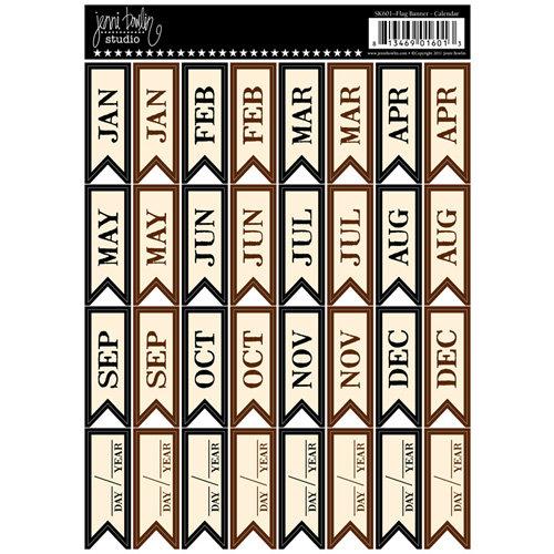 Jenni Bowlin Studio - Cardstock Stickers - Flag Banner - Calendar